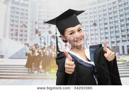 asian graduate with big thumb