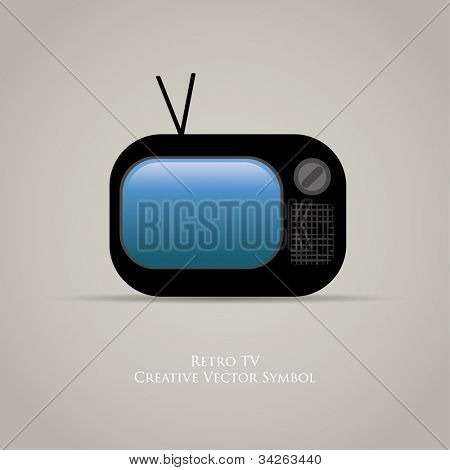 Web icon of retro tv. Vector design of old media movie symbol