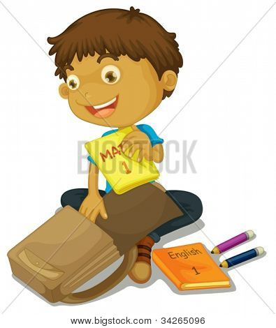 illustration of a boy filling up schoolbag on white