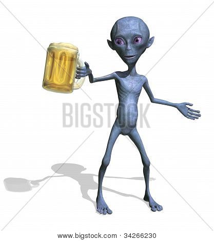 Alien Enjoying A Mug Of Beer