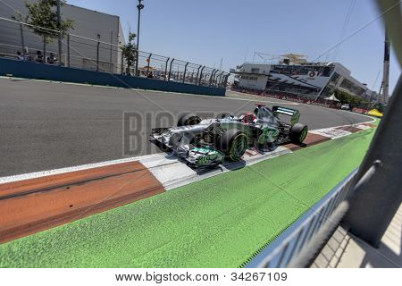 VALENCIA, SPAIN - JUNE 24: Michael Shumacher in the Formula 1 Grand Prix of Europe, Valencia Street Circuit. Spain on June 24, 2012