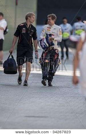 VALENCIA, SPAIN - JUNE 23: Sebastian Vettel, right side, in the Formula 1 Grand Prix of Europe, Valencia Street Circuit. Spain on June 23, 2012