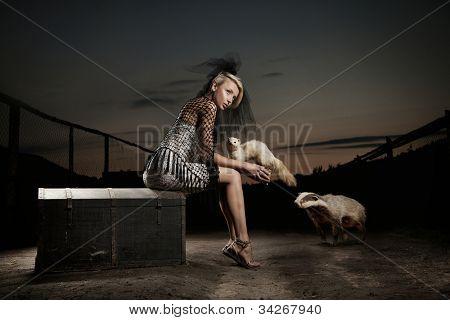 Senhora sexy com animais