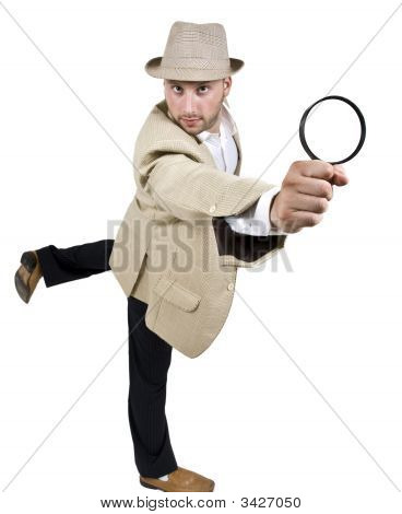 Detective Standing On One Leg