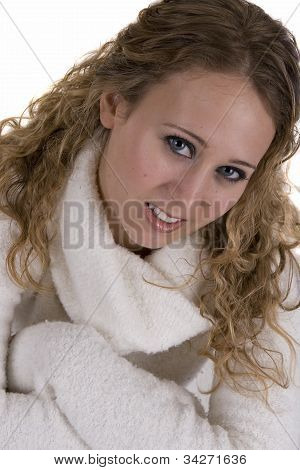 Young Woman In White Sweater