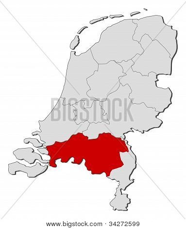 Map Of Netherlands, North Brabant Highlighted