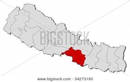 Map Of Nepal, Narayani Highlighted
