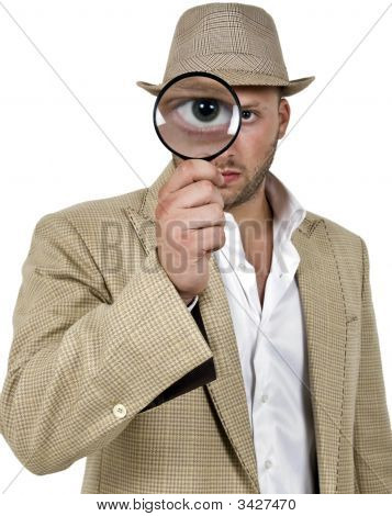 Detective Holding Magnifier