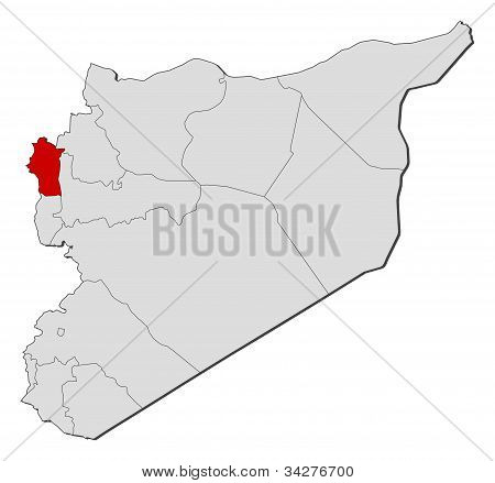 Map Of Syria, Latakia Highlighted