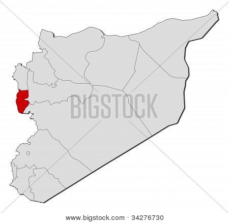 Map Of Syria, Tartus Highlighted