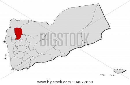 Map Of Yemen, Amran Highlighted
