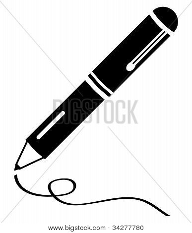 Writing pen clean black icon