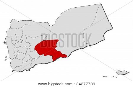 Map Of Yemen, Shabwah Highlighted