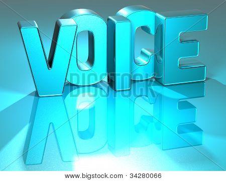 3D Voice Blue Text