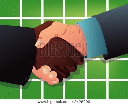 Handshake Against Green Background