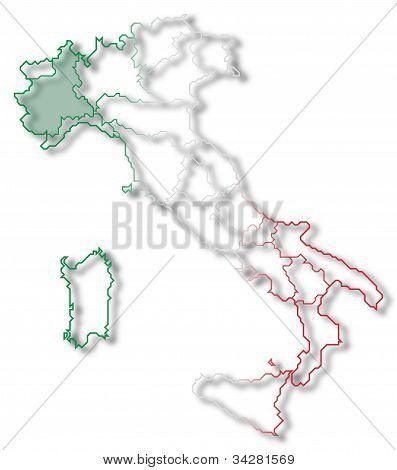 Map Of Italy, Piemont Highlighted
