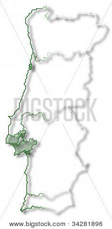 Map Of Portugal, Lisboa Region Highlighted