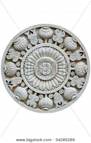 Stone carving in a white background