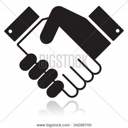 Ícone preto lustroso do aperto de mão