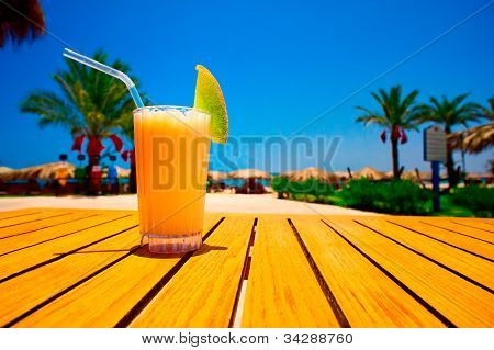 Tasty Juice With Melon Opposite The Beach