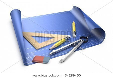 Designing concept. Blueprint and drawing tools isolated on white