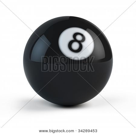 Black Eight billiard ball isolated on white