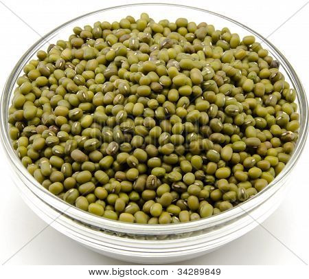 Soya beans in a glass bowl