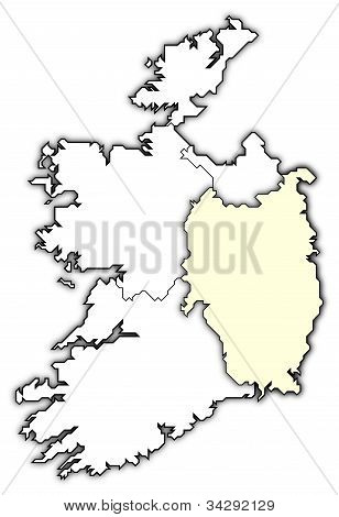 Map Of Ireland, Leinster Highlighted