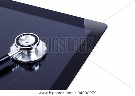 Digital tablet with quality stethoscope on white