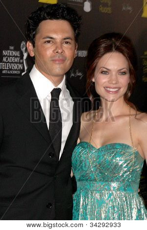LOS ANGELES - JUN 23:  Michael Saucedo, Rebecca Herbst arrives at the 2012 Daytime Emmy Awards at Beverly Hilton Hotel on June 23, 2012 in Beverly Hills, CA