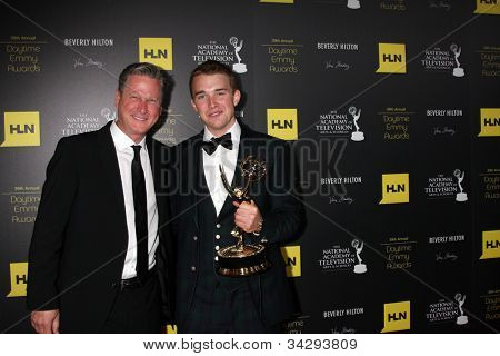 LOS ANGELES - JUN 23:  Jeff Ballard, Chandler Massey in the Press Room of the 2012 Daytime Emmy Awards at Beverly Hilton Hotel on June 23, 2012 in Beverly Hills, CA