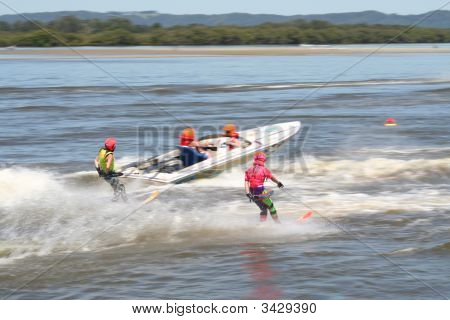 Water Skiers On The Richmond River Ballina Australia