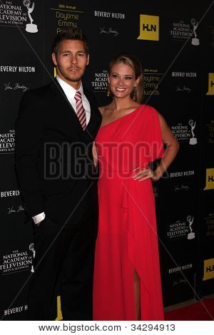 LOS ANGELES - JUN 23:  Scott Clifton, Kim Matula arrives at the 2012 Daytime Emmy Awards at Beverly Hilton Hotel on June 23, 2012 in Beverly Hills, CA