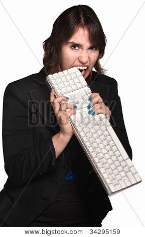 Angry Woman Bites Keyboard