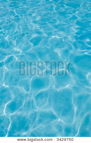 Ripples In Swimming Pool Water Surface, Sunlight Reflections