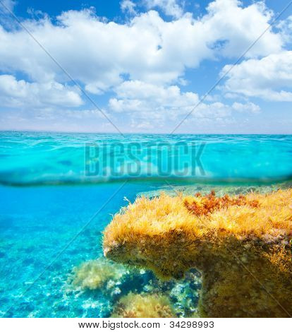 Ibiza Formentera underwater under over waterline blue sky seascape