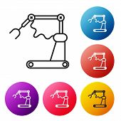 Black Line Industrial Machine Robotic Robot Arm Hand Factory Icon Isolated On White Background. Indu poster