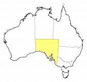 stock photo of australie  - Political map of Australia with the several states where South Australie is highlighted - JPG