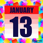 January 13 Icon. For Planning Important Day. Banner For Holidays And Special Days. January 13th. Vec poster