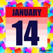 January 14 Icon. For Planning Important Day. Banner For Holidays And Special Days. January Fourteent poster