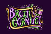 Vector Greeting Card For Brazil Carnival, Decorative Ticket With Calligraphic Font, Design Flourishe poster