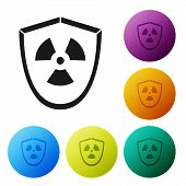 Black Radioactive In Shield Icon Isolated On White Background. Radioactive Toxic Symbol. Radiation H poster