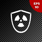 White Radioactive In Shield Icon Isolated On Transparent Dark Background. Radioactive Toxic Symbol.  poster