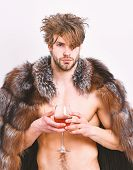 Sexy Sleepy Rich Macho Tousled Hair Drink Wine Isolated On White. Health And Wellbeing. Richness And poster