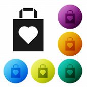 Black Shopping Bag With Heart Icon Isolated On White Background. Shopping Bag Shop Love Like Heart I poster