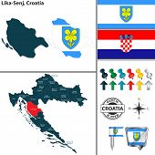 Vector Map Of Lika Senj And Location On Croatian Map poster
