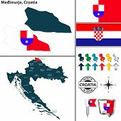 Vector Map Of Medimurje And Location On Croatian Map poster