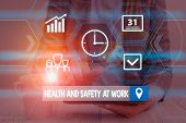 Word Writing Text Health And Safety At Work. Business Concept For Secure Procedures Prevent Accident poster