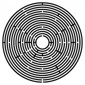 Big Black Circular Maze. Radial Labyrinth. Find A Route To The Centre. Print Out And Follow The Path poster