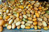 image of muskmelon  - Heap of muskmelon for retail in the market at Lampang Thailand - JPG
